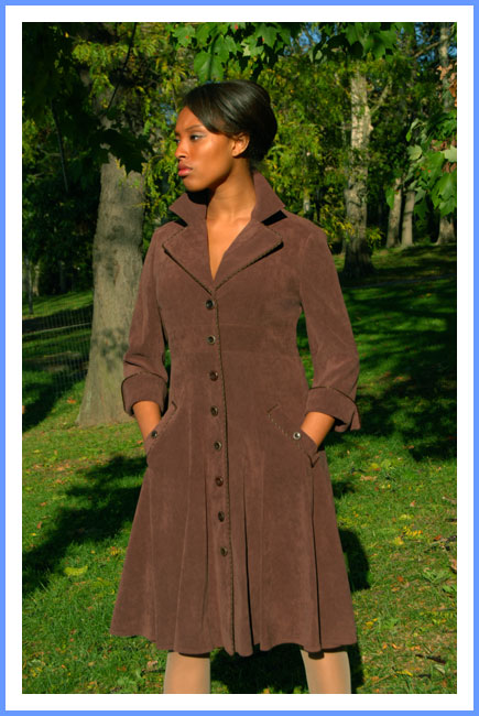 Bluesuits Chocolate Brown Stretch Suede Coat Dress