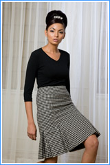 Bluesuits hounds Tooth Wool Tweed Kick PLeat Skirt