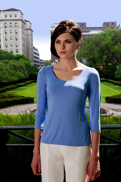 Bluesuits Blue Scoop neck Bamboo Knit Top