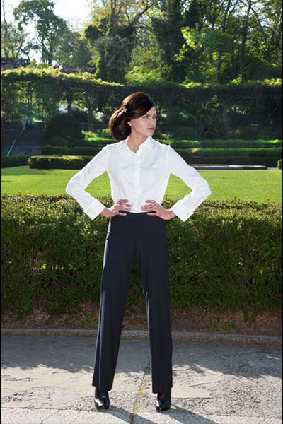 Bluesuits Navy Pinstripe tropical wool Wide Leg Pants