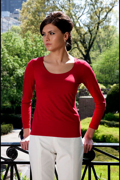 Bluesuits Red Scoop Neck Bamboo Knit Top