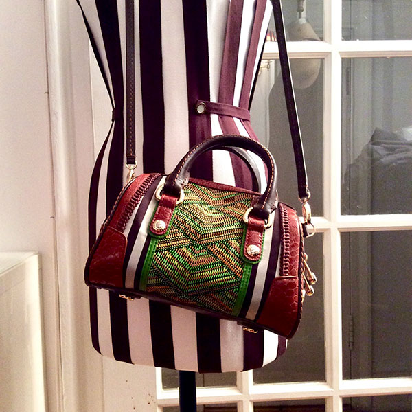 Henri Bendel Centennial Stripes, Embroidered Canvas & Leather CrossBody Satchel