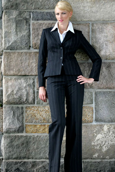 Bluesuits Hepburn Jacket and Flat-Front Pinstripe Business Pants