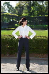 Bluesuits Fly-Front Navy PInstripe pants
