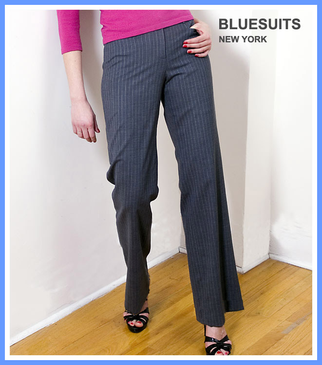 bluesuits Tropical wool charcoal/pink pinstripe fly front pants