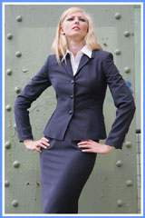 Bluesuits Three Buttom Navy Business Suit Jacket and work Skirt