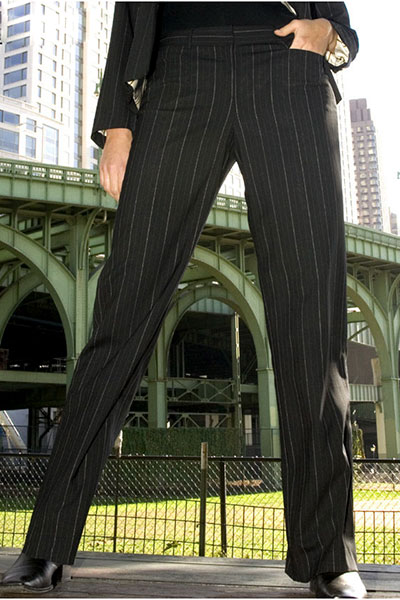 Bluesuits Pinstripe Custom Fly-front pants for plus size women