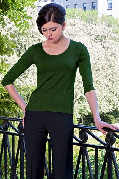 Bluesuits Green Scoop Neck Bamboo Knit Top