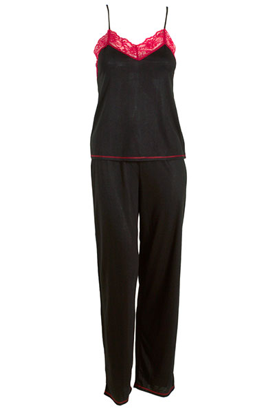 Natori Black Pajama with Contrast Red Lace Trim