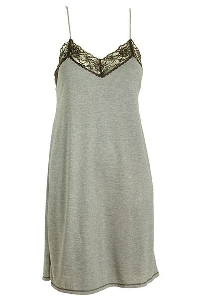 Natori Grey Chemise with Contrast Black Lace