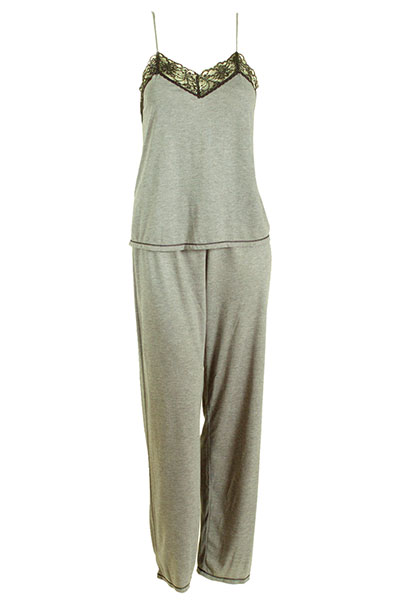 Natori Grey Pajamas with Contrast Black Lace Trim