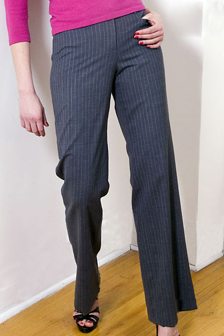 Bluesuits Charcoal Pinstripe Tropical Wool Wide Leg Business Pant